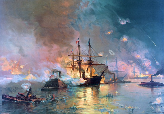 Farragut's Fleet passing the Forts before the Capture of New Orleans