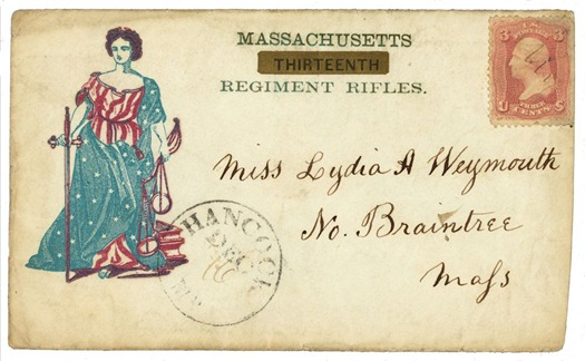 Civil War envelope for Massachusetts Thirteenth Regiment Rifles showing Lady Justice dressed in an American flag pattern