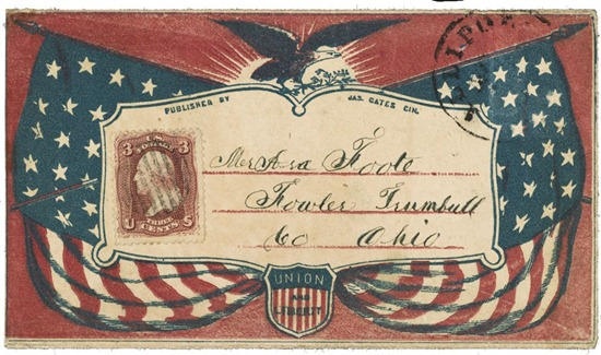 Civil War envelope showing American flags, eagle with laurel branches, and shield