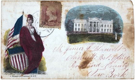 Civil War envelope showing Columbia with shield and American flag and White House