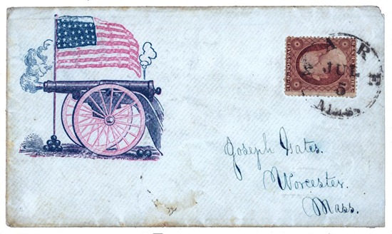 Civil War envelope showing a firing cannon and an American flag standing in a pile of cannon balls