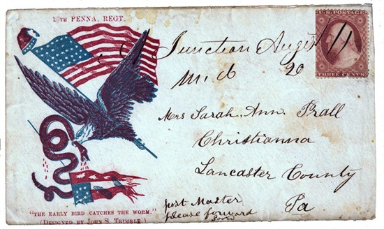 Civil War envelope showing an eagle carrying an American flag in its claw and a serpent in its beak with motto The early bird catches the worm below