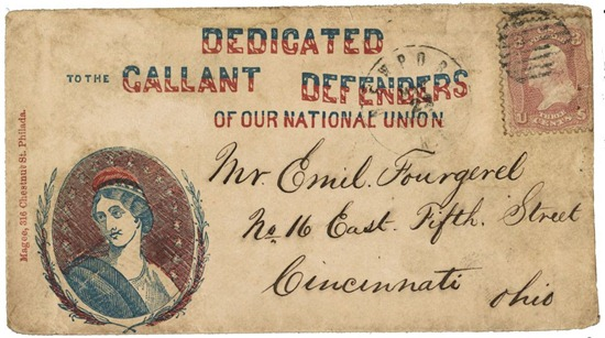 Civil War envelope showing bust of Columbia encircled with laurel branches