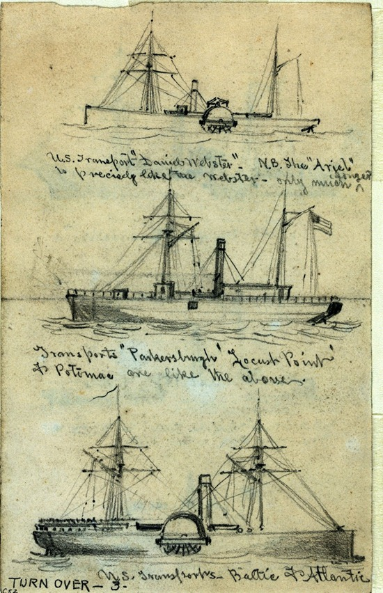 Broadside views of three steamships by Alfred R. Waud