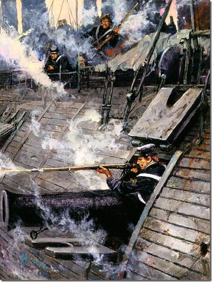 Corporal John Mackie fighting aboard the USS Galena during the Battle of Drewry's Bluff.