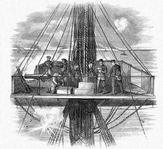 From the foretop of the war steamer Mississippi, Mr W Waud sketches the engagement between the federal fleet and the rebel forts below New Orleans