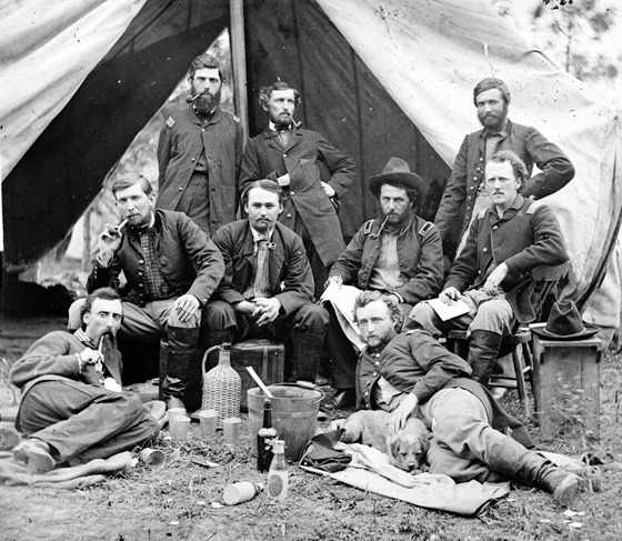 The Peninsula, Va. The staff of Gen. Fitz-John Porter; Lts. William G. Jones and George A. Custer reclining
