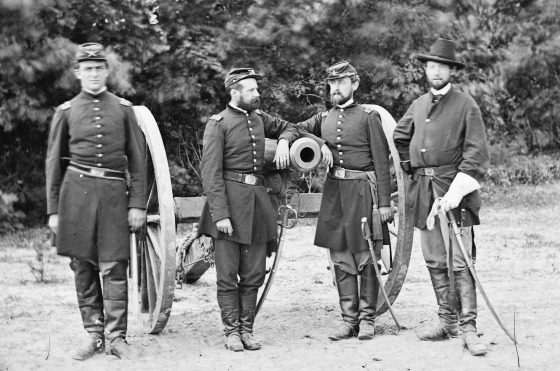 Fair Oaks, Va., vicinity. Capt. Horatio G. Gibson (second from left) and officers of his battery