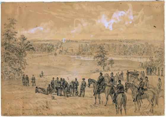 McClellan reconnoitering the Turnpike to Richmond from the Peach Orchard at Mechanicsville