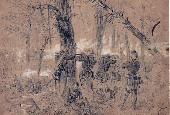 fighting in the woods Kearneys divison repulsing the enemy Monday June 30th 1862 - 21469v