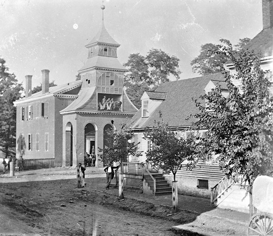 1862 August Culpeper Court House, Va. Court house, with a group of Confederates captured