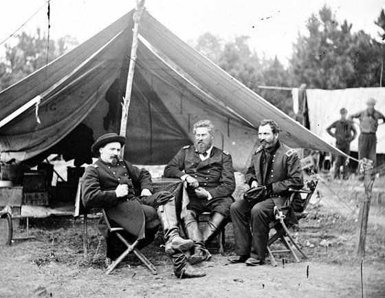 1862 August Harrison's Landing, Va. Col. Albert V. Colburn, Col. Delos B. Sacket, and Gen. John Sedgwick