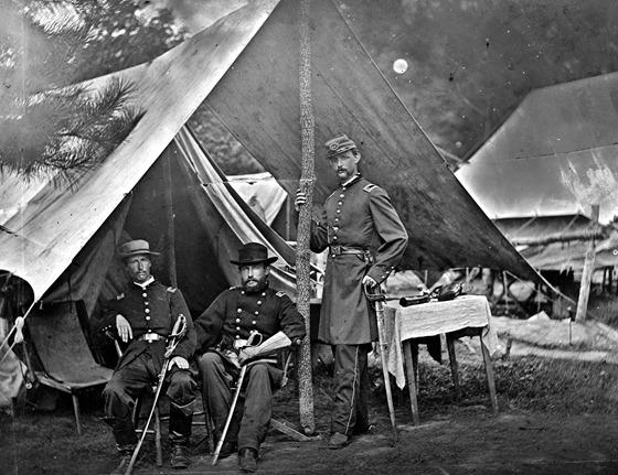 1862 August Harrison's Landing, Virginia. Maj. Myers, Lts. Stryker and Norton.