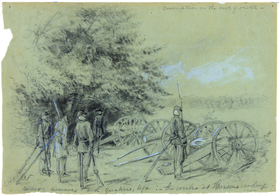 1862 August Soldier's dummies and quakers, left in the works at Harrison's landing
