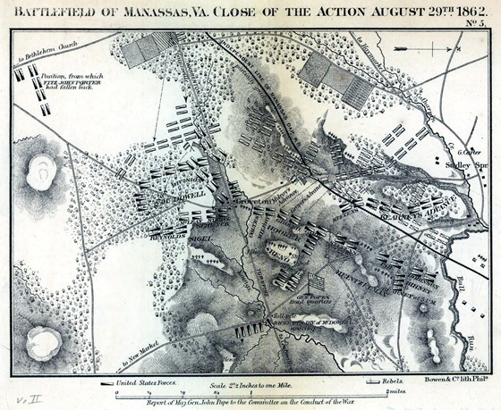 Battlefield of Manassas, Va. close of the action August 29th, 1862