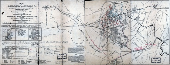 Map of battle-field of Manassas, Va., giving positions and movements of troops, August 30th, 1862