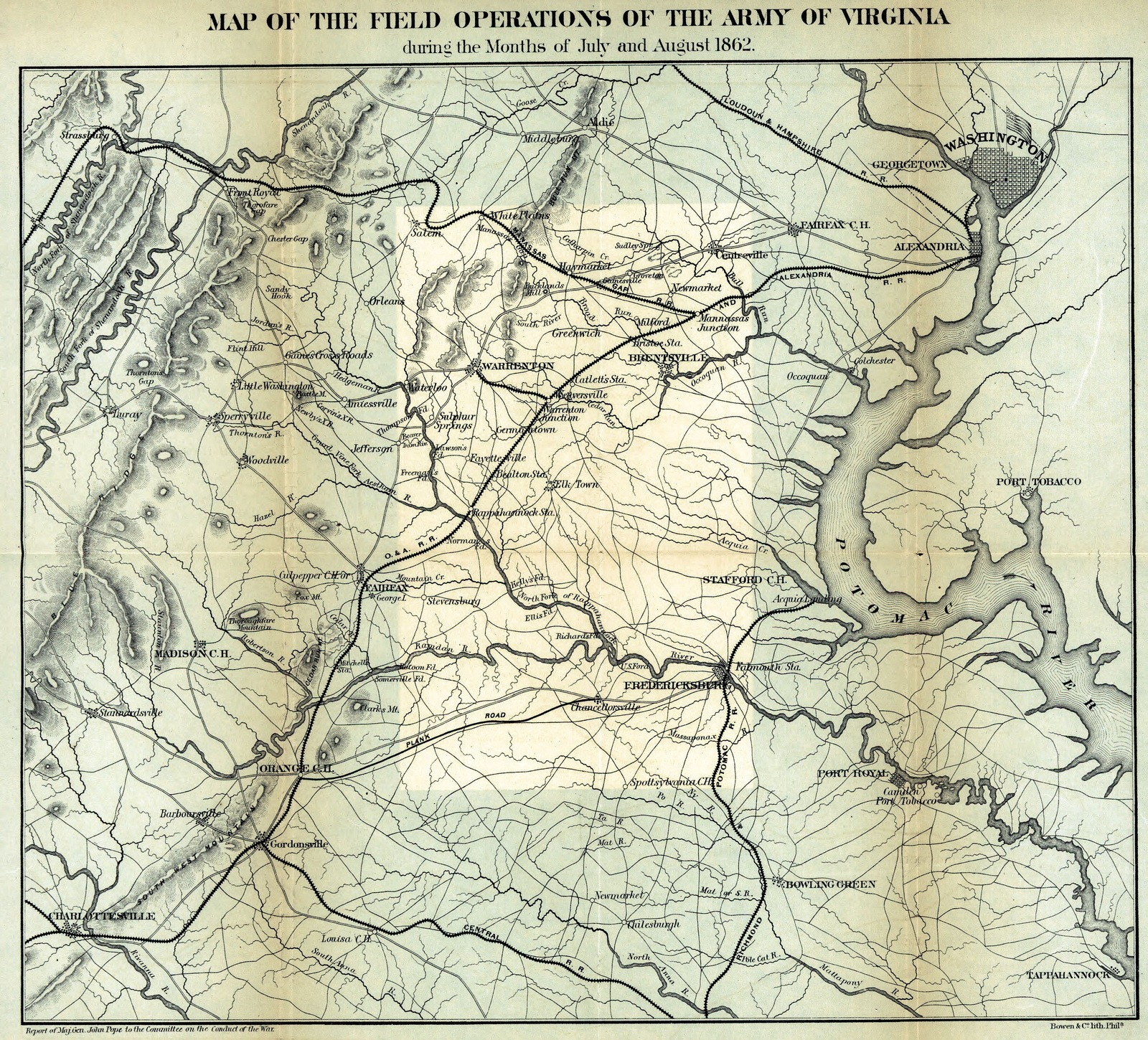 Map Of The Field Operations Of The Army Of Virginia During The - Us map 1862