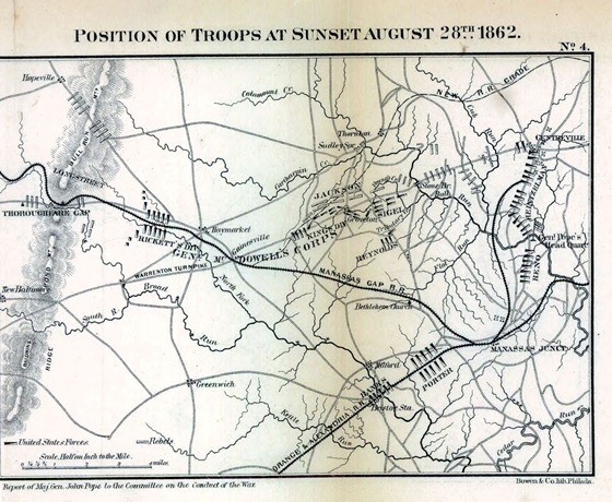 Position of troops at sunset August 28th, 1862. [Second Manassas battle]