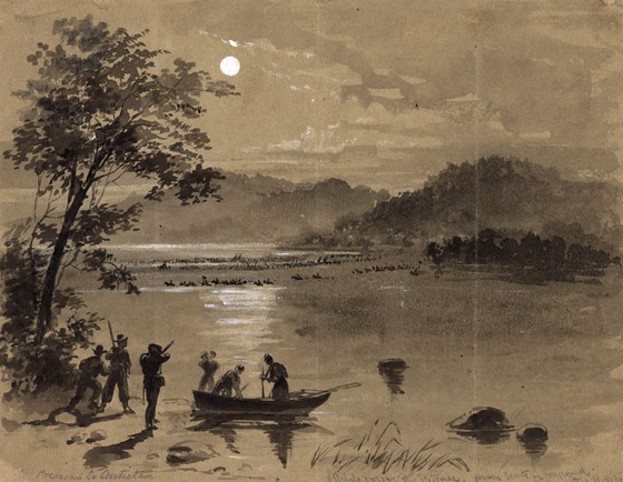 1862-09-15 Previous to Antietam. Rebels crossing the Potomac. Union scouts in foreground