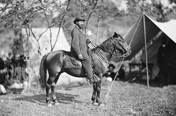 Antietam, Md. Allan Pinkerton (E. J. Allen) of the Secret Service on horseback