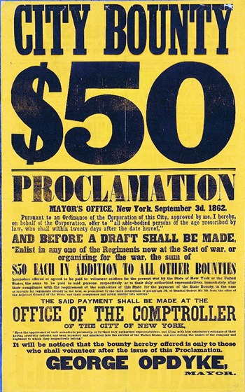 City bounty $50. Proclamation Mayor's Office, New York, September 3d, 1862 ac03104v