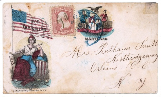 Civil War envelope showing Columbia with American flag bearing message - For the Union - and state seal of Maryland