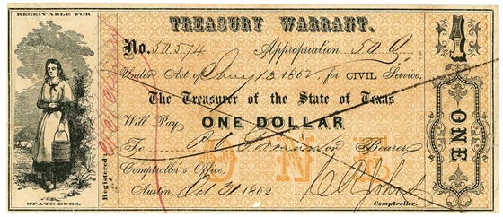$1 Texas Treasury Warrant. Civil Pay to P.O. Gorman or Bearer; October 31, 1862.