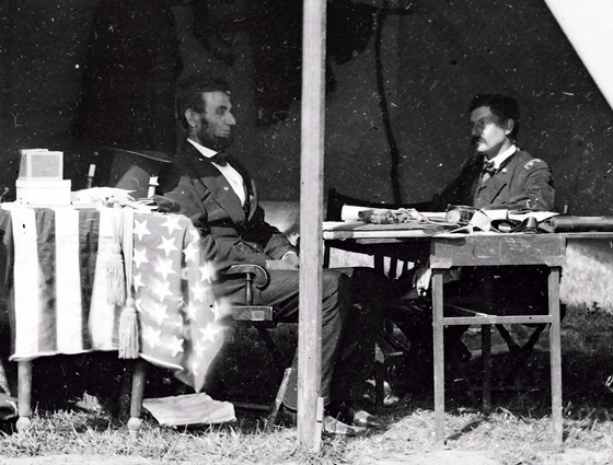 10 03 Antietam, Md. President Lincoln and Gen. George B. McClellan in the general's tent; another view