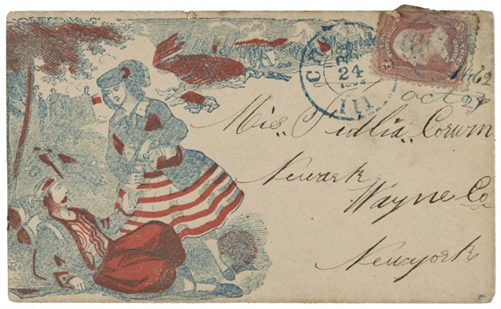 10 24 Civil War envelope showing woman pouring a drink for a wounded soldier as a battle rages in the background