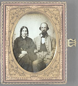 Unidentified soldier in Confederate uniform and his wife, Sarah A. Dasher