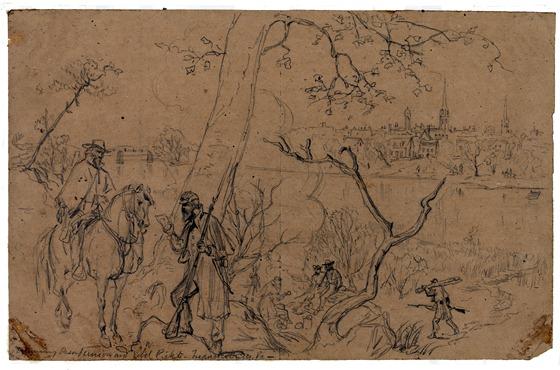 Examining passes, Union and rebel pickets--Fredericksburg, Va
