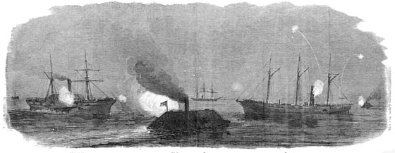 The War in South Carolina. The Rebel Rams from Charleston Harbor Attacking the Federal Squadron, January 31.