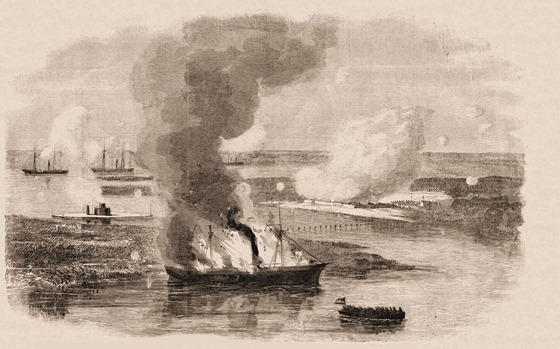 Destruction of the Famous Confederate Privateer Nashville, in the Ogeechee River, Georgia, by the Union Iron-Clad Montauk, Capt. Worden, Feb. 28