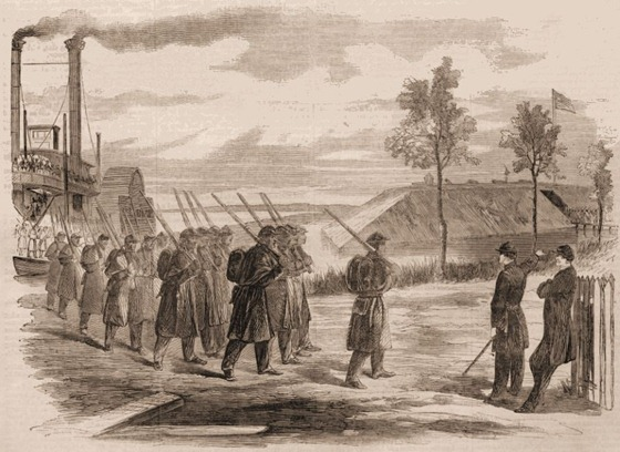 Our Colored Troops at Work—The First Louisiana Native Guards Disembarking at Fort Macombe, Louisiana