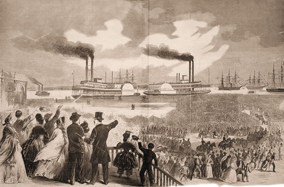 Scene on the Levee at New Orleans on the Departure of the Paroled Rebel Prisoners, February 20, 1863