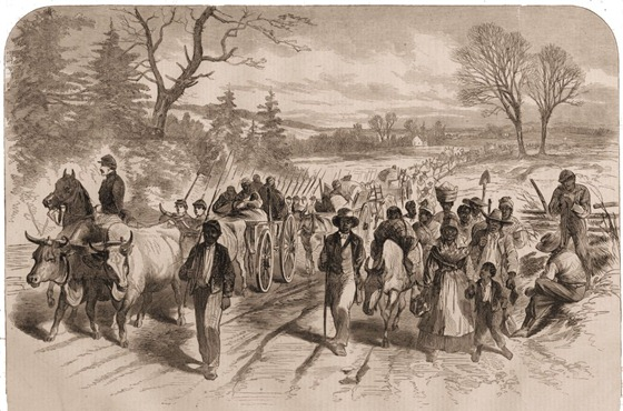 The Effects of the Proclamation -- Freed Negroes coming into Our Lines at Newbern, North Carolina