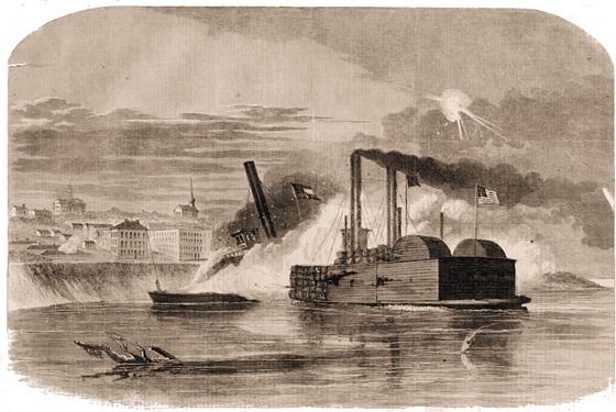 The Federal Ram, Queen of the West, Attacking the Rebel Gun-Boat ,Vicksburg, Off Vicksburg