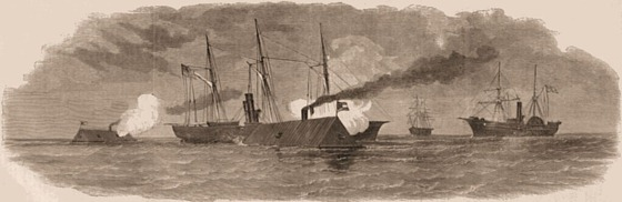 The Rebel Rams Engaging our Blockading Fleet off Charleston, South Carolina, January 31, 1863