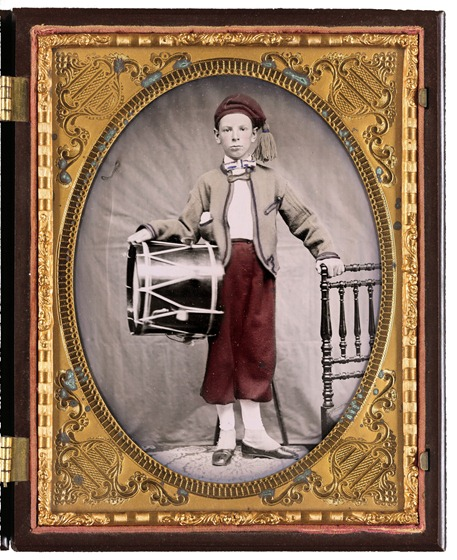 Unidentified boy in Union zouave uniform with drum