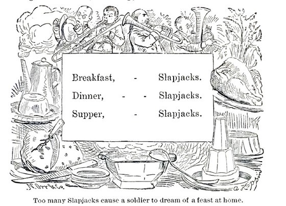 Too many Slapjacks cause a soldier to dream of a feast at home.