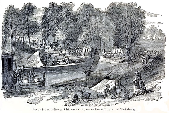 Receiving supplies at Chicasaw Bayou for the army around Vicksburg.