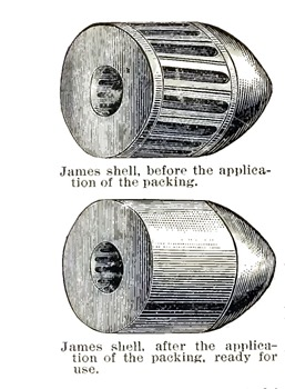 Janes shell, before application of packing and after application of packing, ready for use. (Vicksburg, June 1863)
