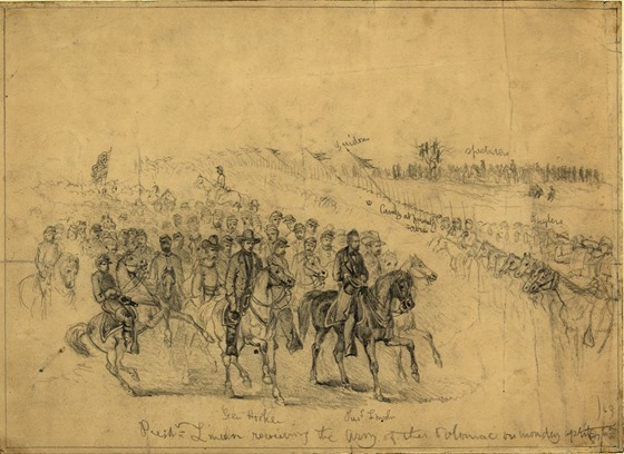 April 6, President Lincoln reviewing the Army of the Potomac on Monday,  1863 19523u