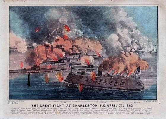 April 7th The great fight at Charleston S.C.  1863 31065u