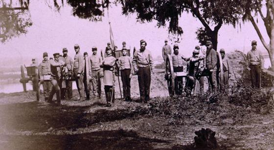 Confederate artillery near Charleston