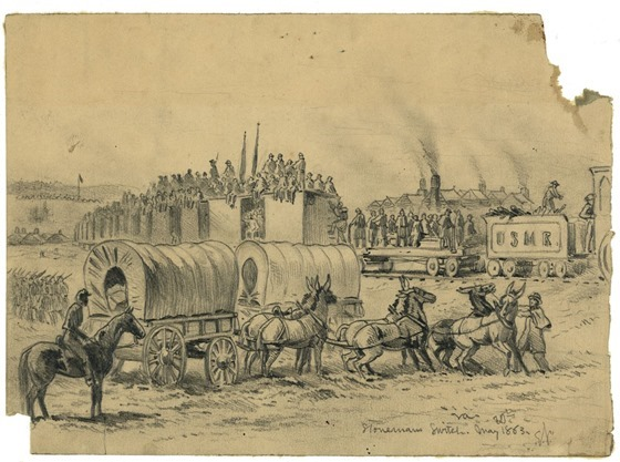 Departure of two-years men from the Army of the Potomac. A scene near Falmouth, Va. May 20, 1863