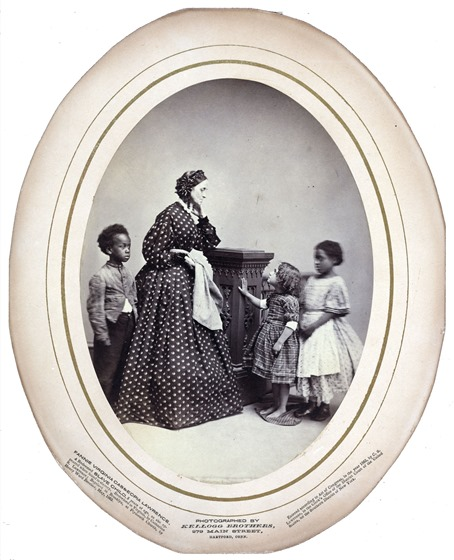 Fannie Virginia Casseopia Lawrence, a redeemed slave child, five years of age as she appeared when found in slavery