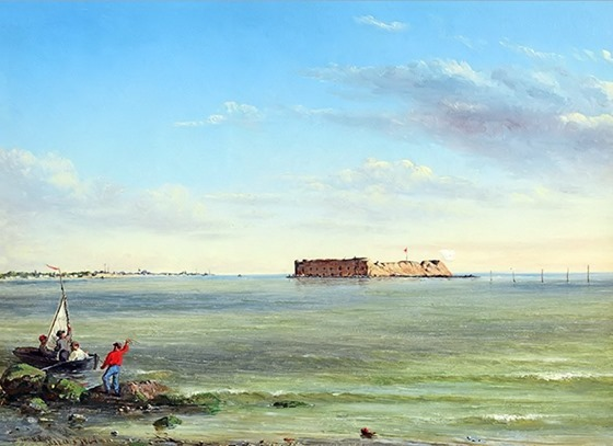 Forts Sumter & Johnson, March 15, 1864 - by Conrad Wise Chapman