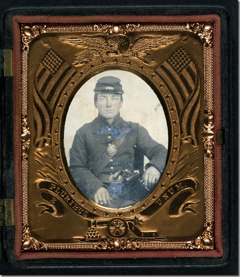 Roswell K. Bishop of Company I, 123rd New York Infantry Regiment in uniform with holstered revolver