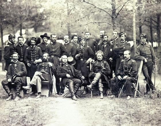 June 1863 - Gen. Joseph Hooker and staff, Falmouth, Va